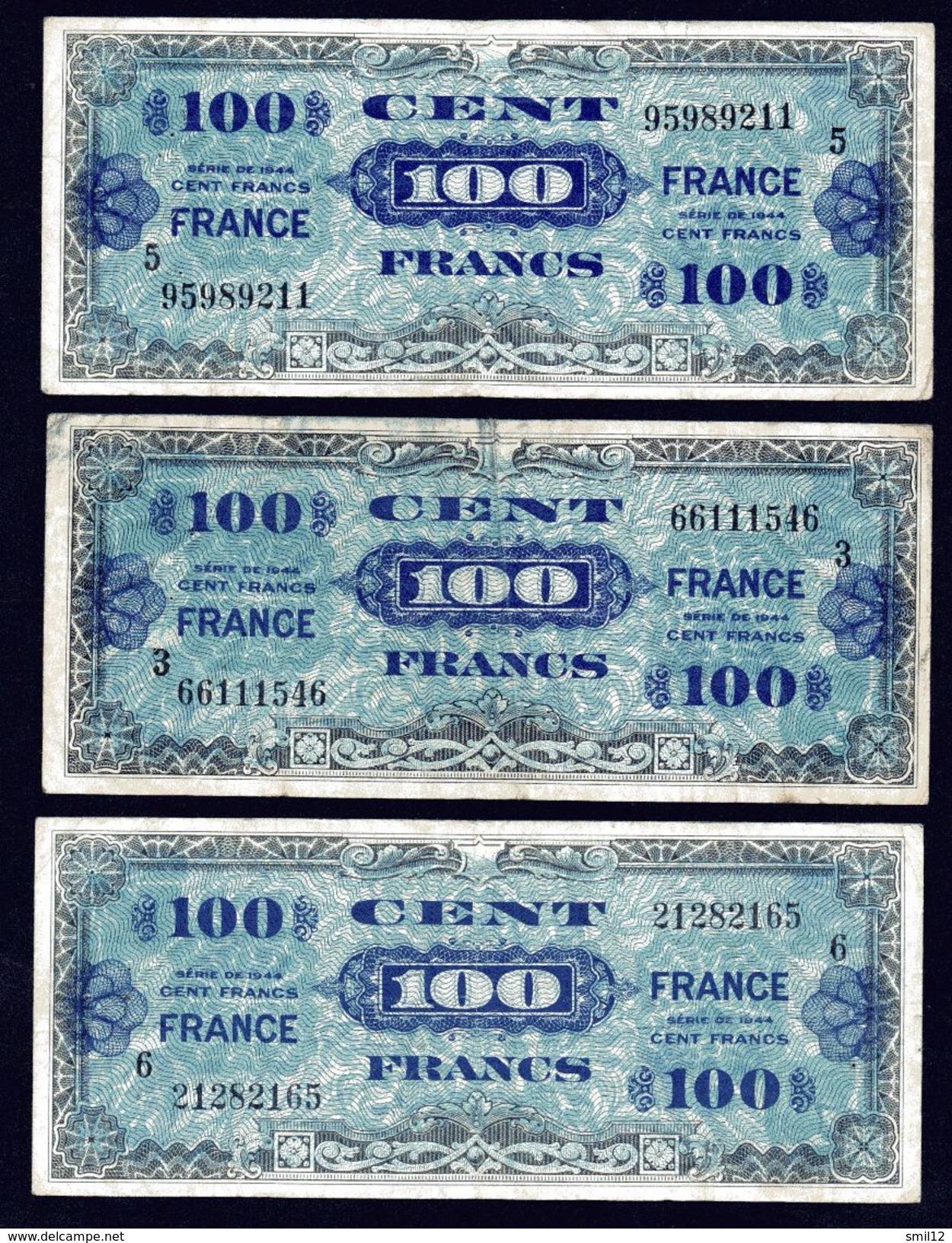 France - Lot 3X 100 Francs France (3) - Treasury
