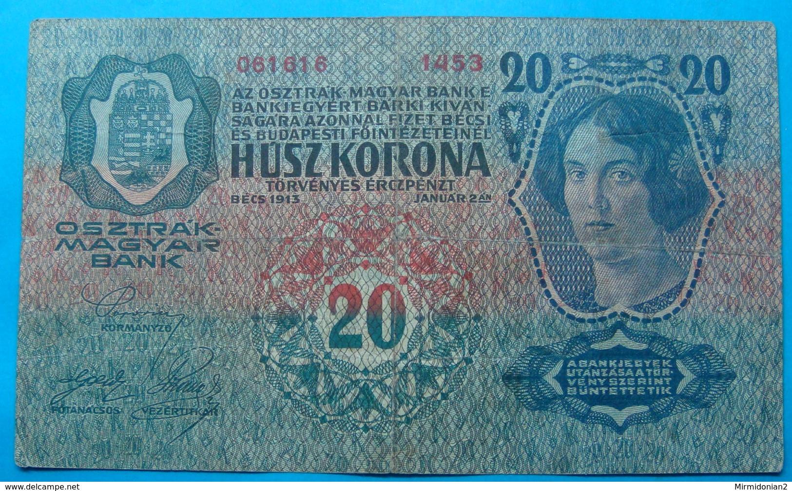 FIUME - RIJEKA 20 KRONEN ND 1918 (OLD DATE 1913), ITALY, CROATIA, AUSTRIA, HUNGARY, SEAL ON OBVERSE, ORIGINAL SEAL, RARE - Croatia