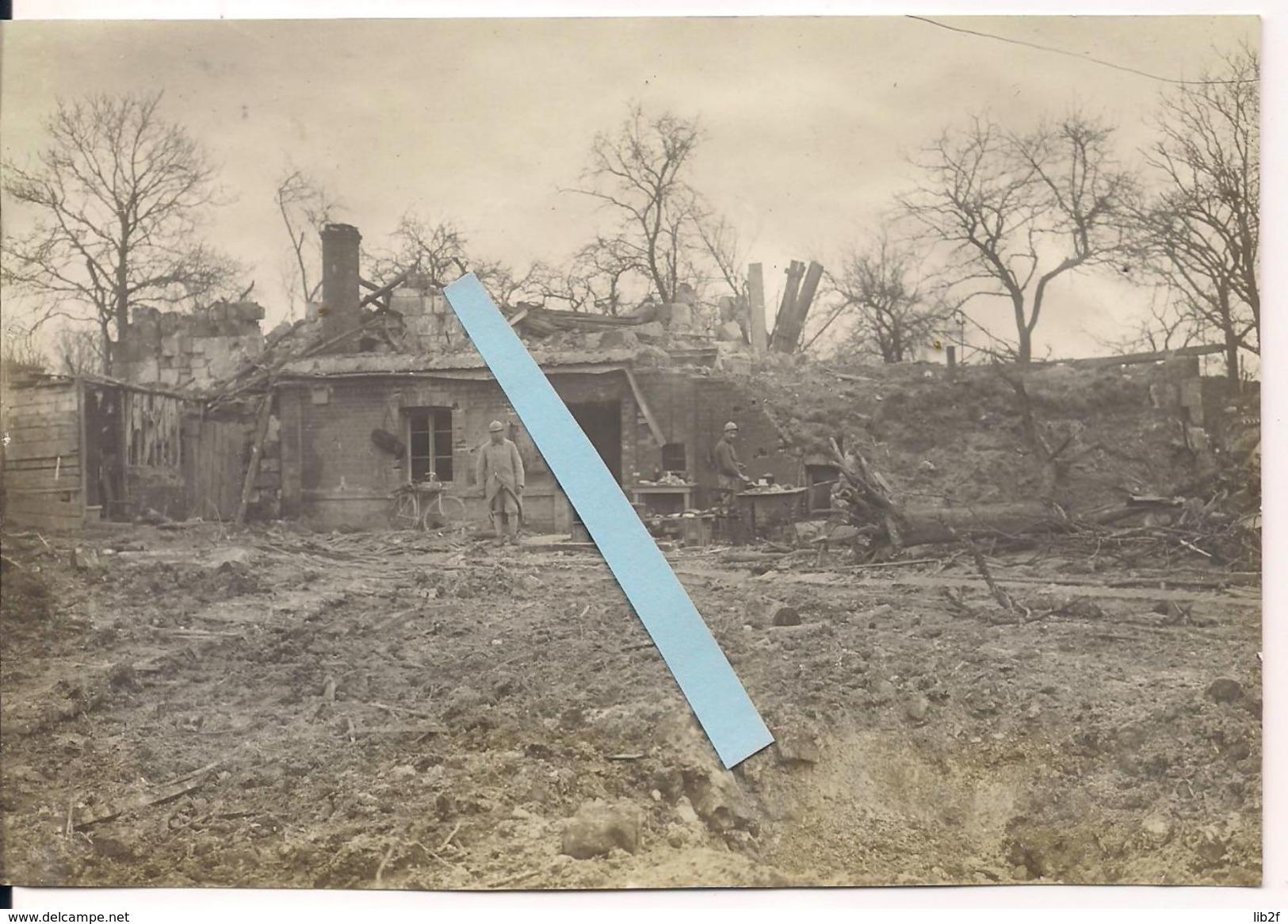 Candor Oise 1917 Destructions Repli Hindenburg Cantonnements Français Tranchées Poilus 1914/1918 Ww1 1wk - War, Military