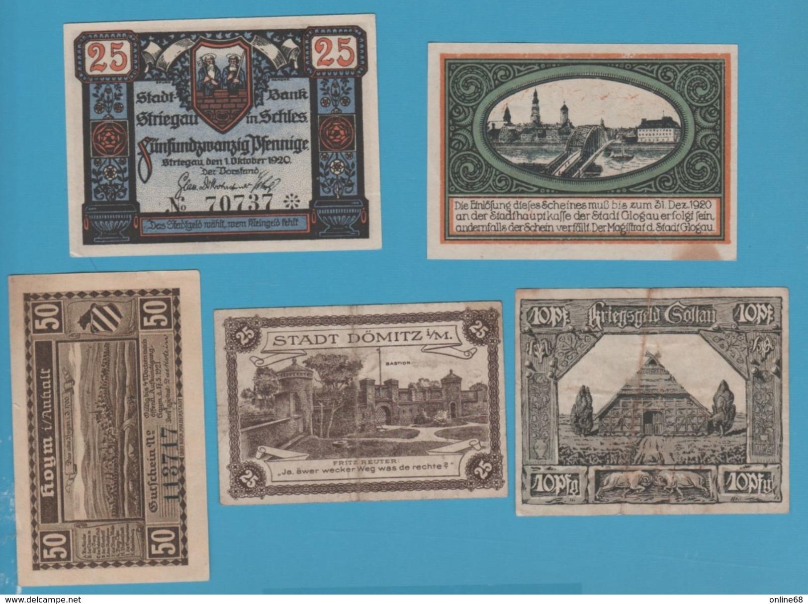 LOT 11 NOTGELD  HELGOLAND - STRIEGAU - DÖMITZ - SOLTAU - DARSTADT ..... - [11] Local Banknote Issues