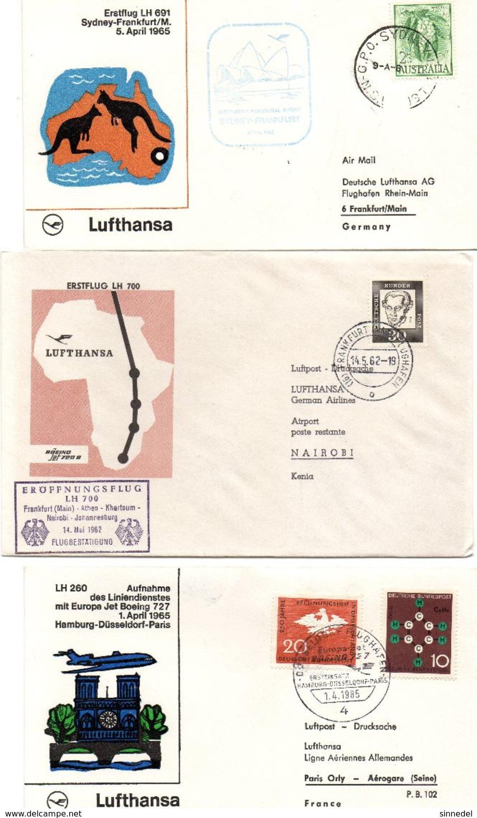 Lot De 3 Lettres  Poste Aerienne 1er Vol De Pays Divers - Timbres