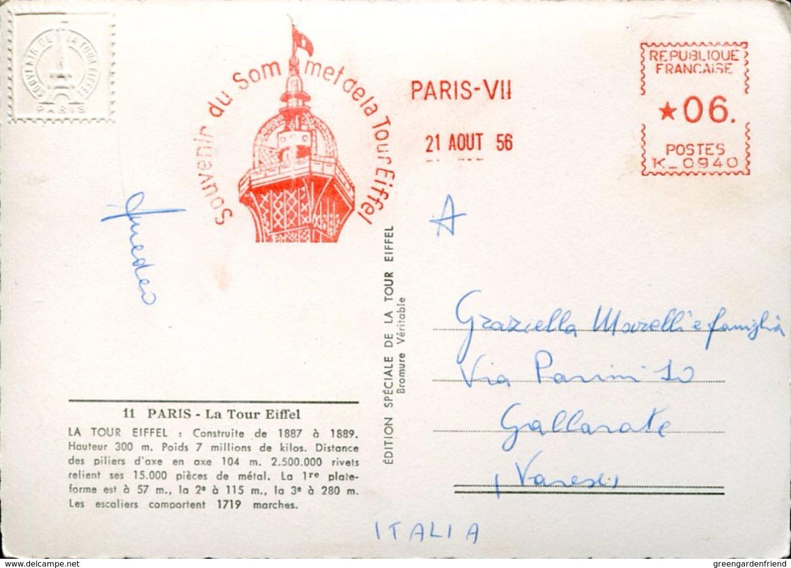 25744 FRANCE,red Meter/freistempel/ema/ 1956 Paris Souvenir Du Sommet De La Tour Eiffel, Circulè - EMA (Printer Machine)