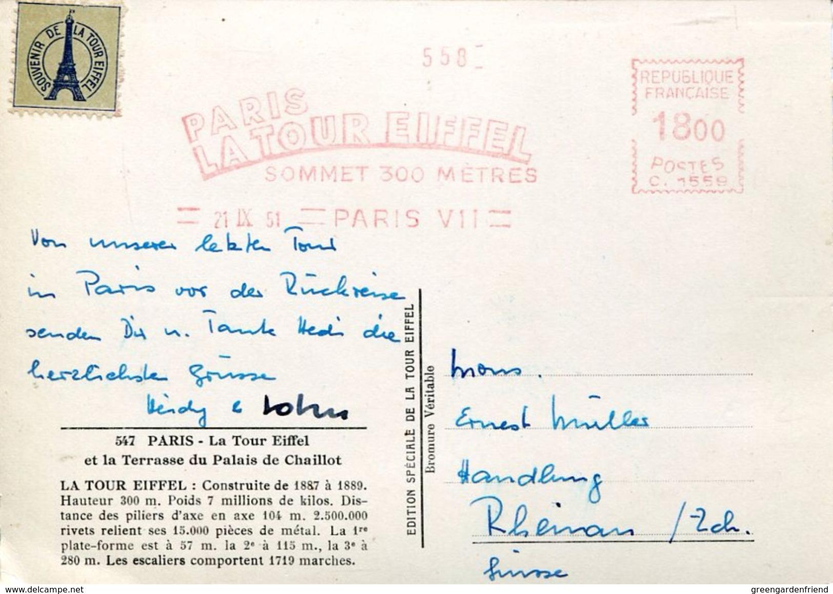 25745 FRANCE,red Meter/freistempel/ema/ 1951 Paris Souvenir Du Sommet De La Tour Eiffel, Circulè - EMA (Printer Machine)