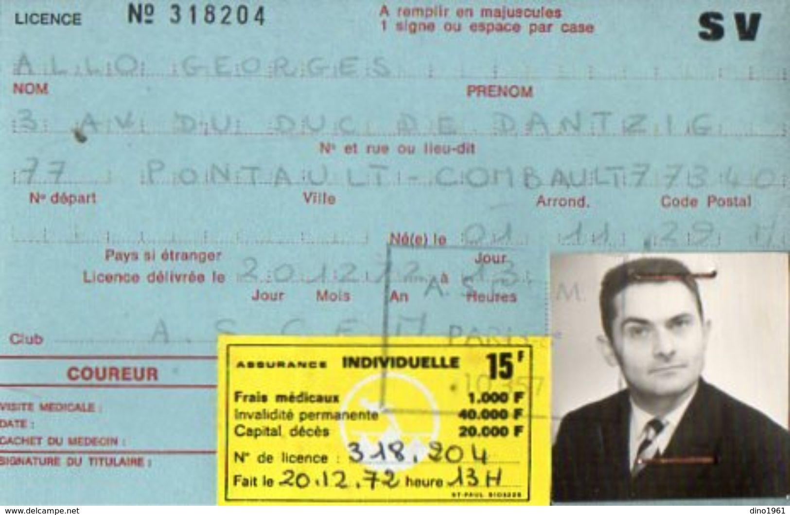VP10.830 - PARIS - Fédération Francaise De Ski - Carte Fédérale De Mr Georges ALLO De PONTAULT COMBAULT - Sports D'hiver