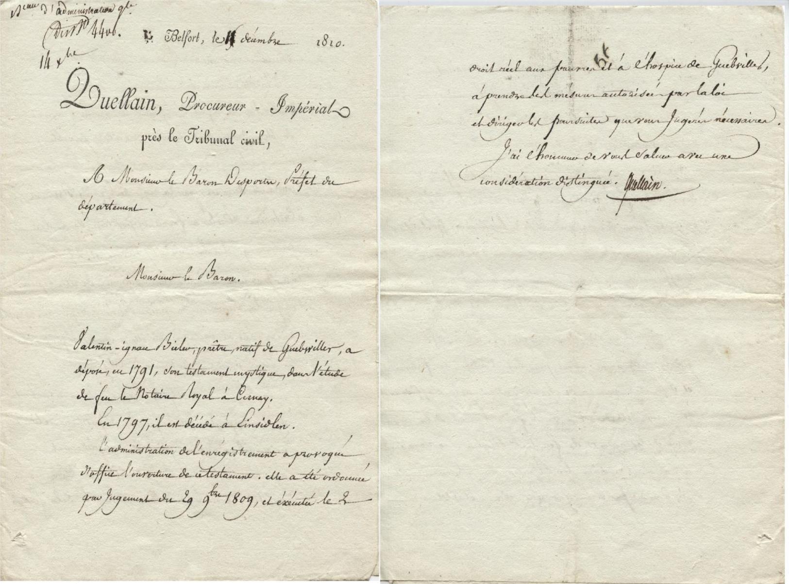 Belfort,Guebwiller,Einsiedeln 1810 Guellain Procureur Impérial - Manuscripts