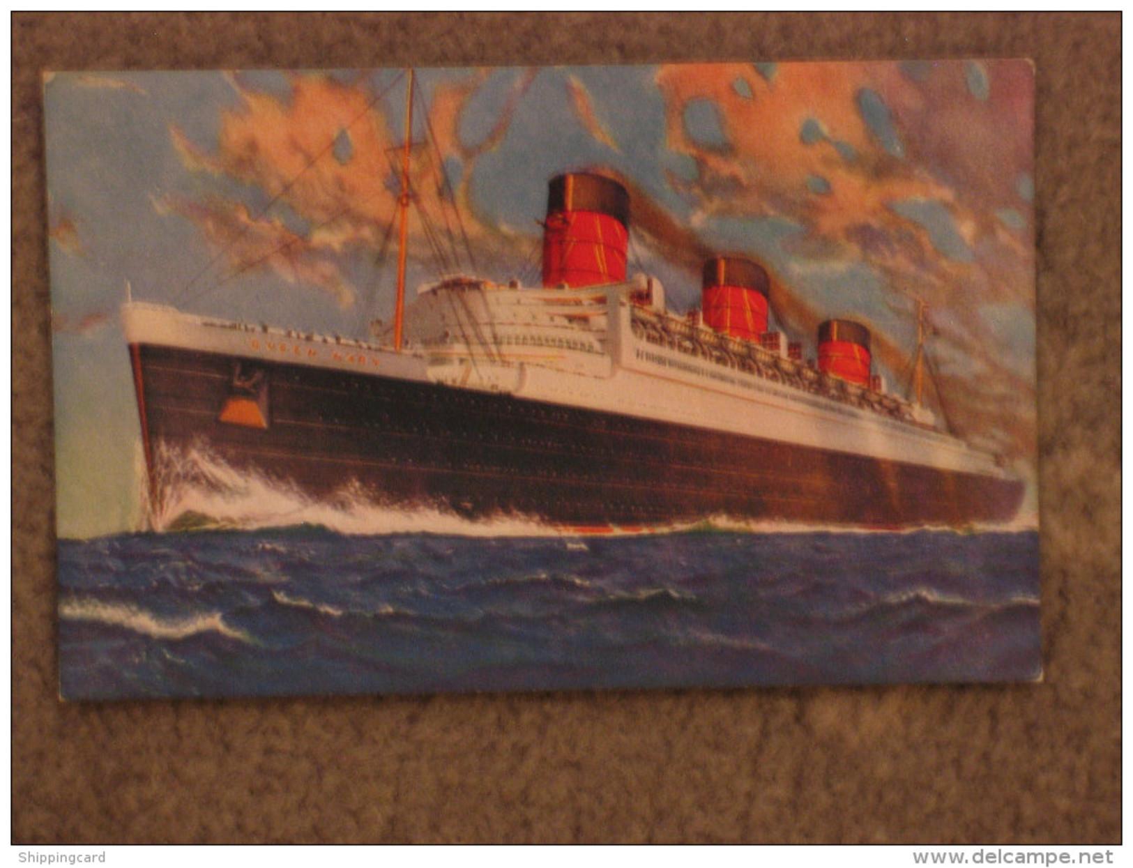 CUNARD QUEEN MARY SALMON ART CARD - Steamers