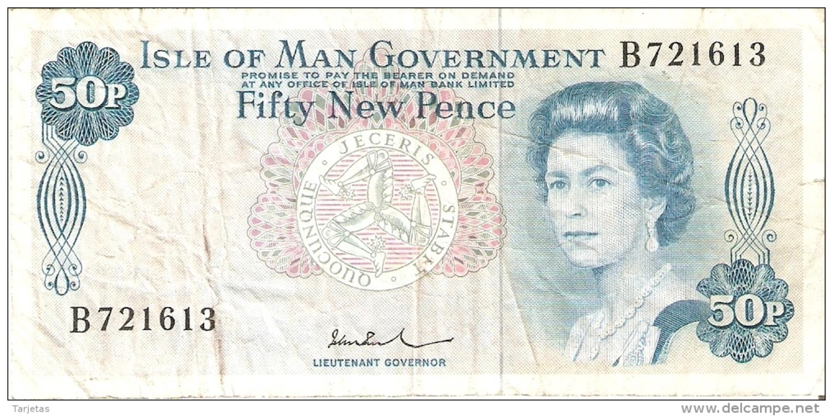 BILLETE DE LA ISLA DE MAN DE 50 NEW PENCE DEL AÑO 1972  (BANK NOTE) - 50 New-pence