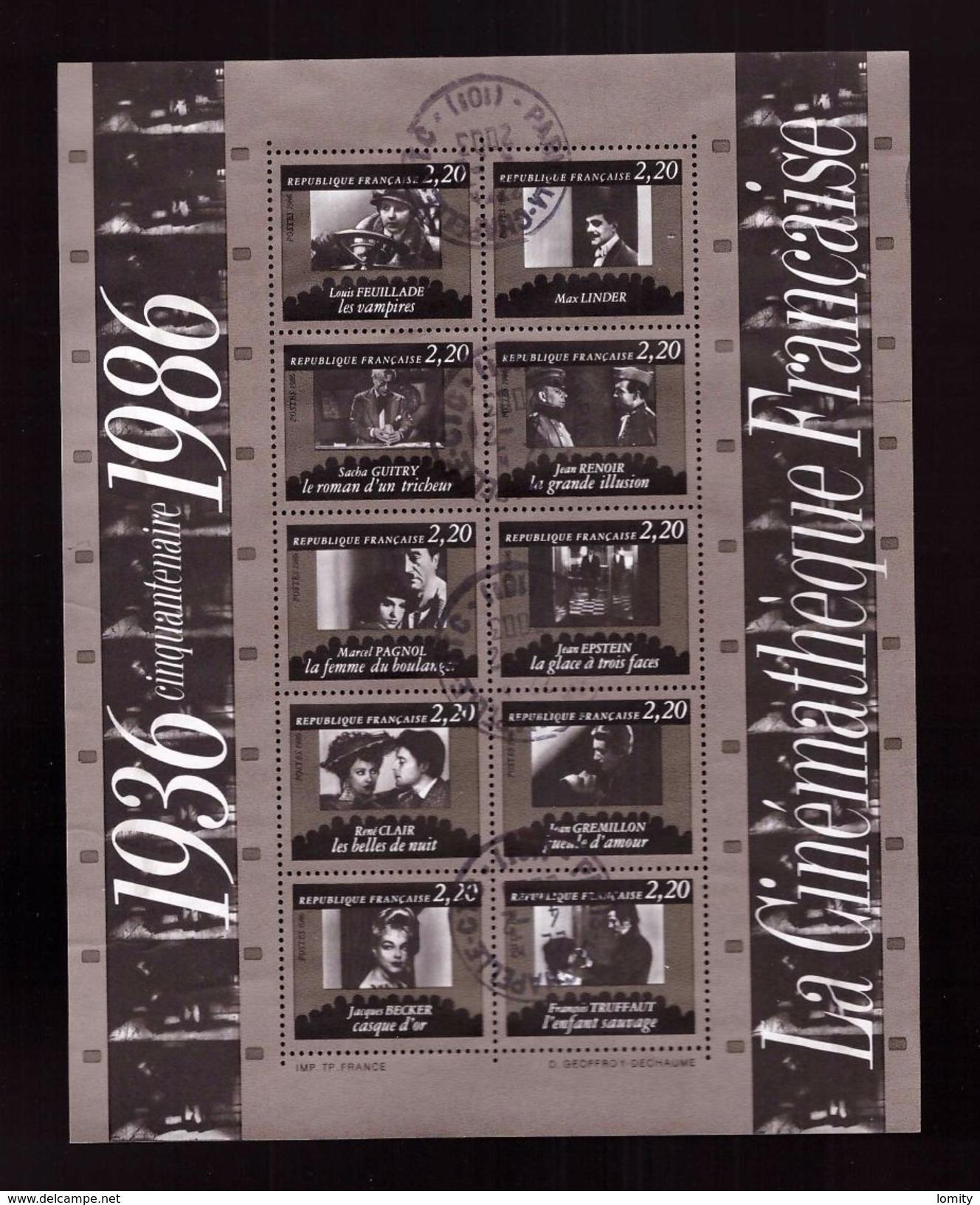 France  Bloc Feuillet Oblitéré N°9 Cinquantenaire Cinematheque Française Timbre N° 2433 à 2442 - Sheetlets