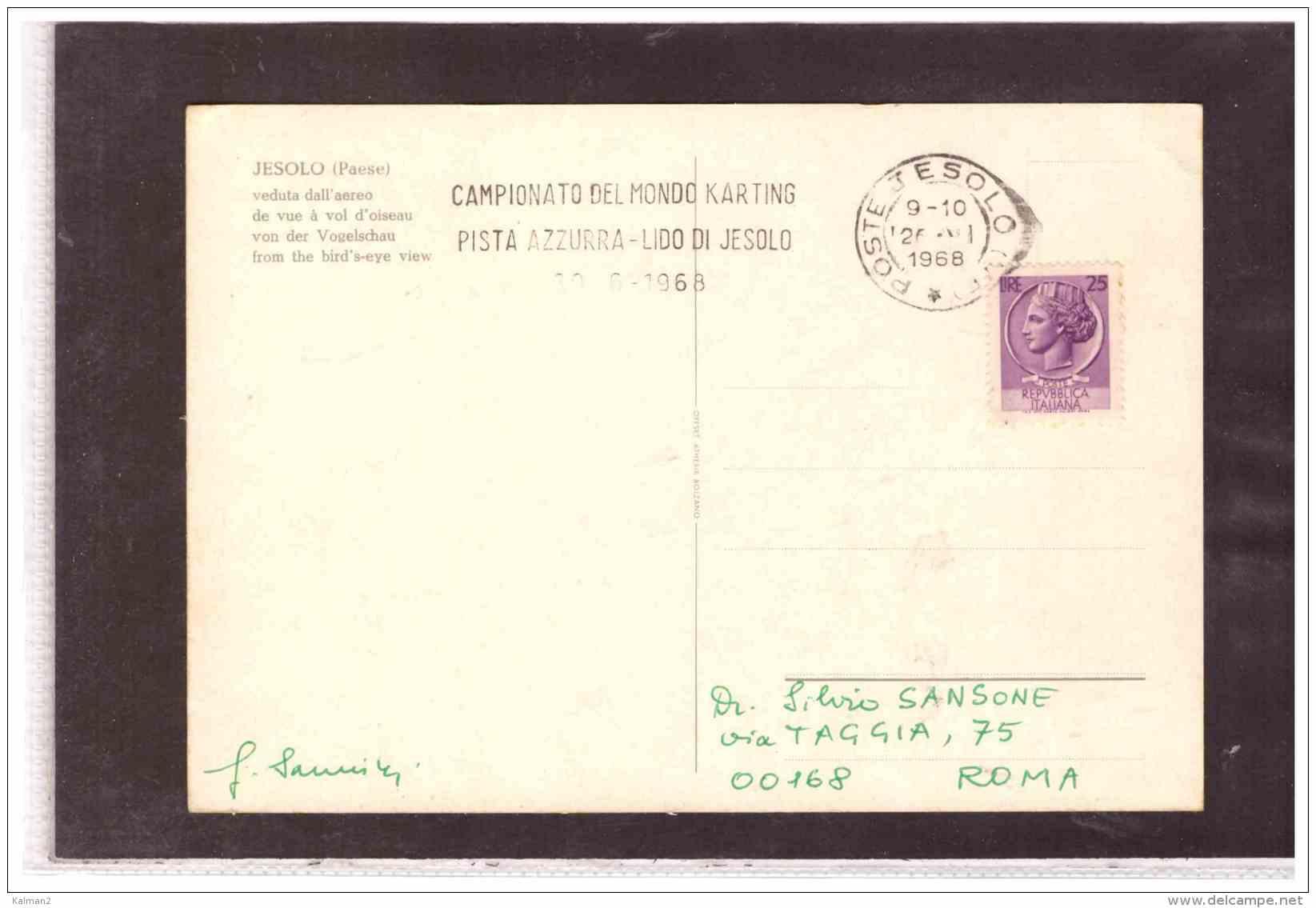 TEM8744   -   JESOLO  26.6.1968   /    CAMP. DEL MONDO KARTING - Non Classificati