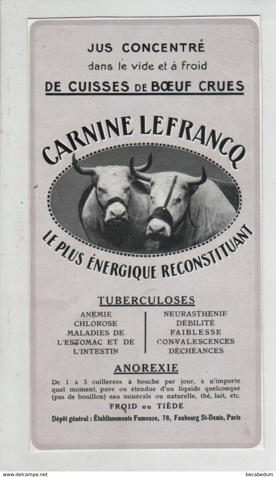 Publicité Carnine Lefrancq Boeuf Jus Concentré Tuberculose Anorexie - Werbung