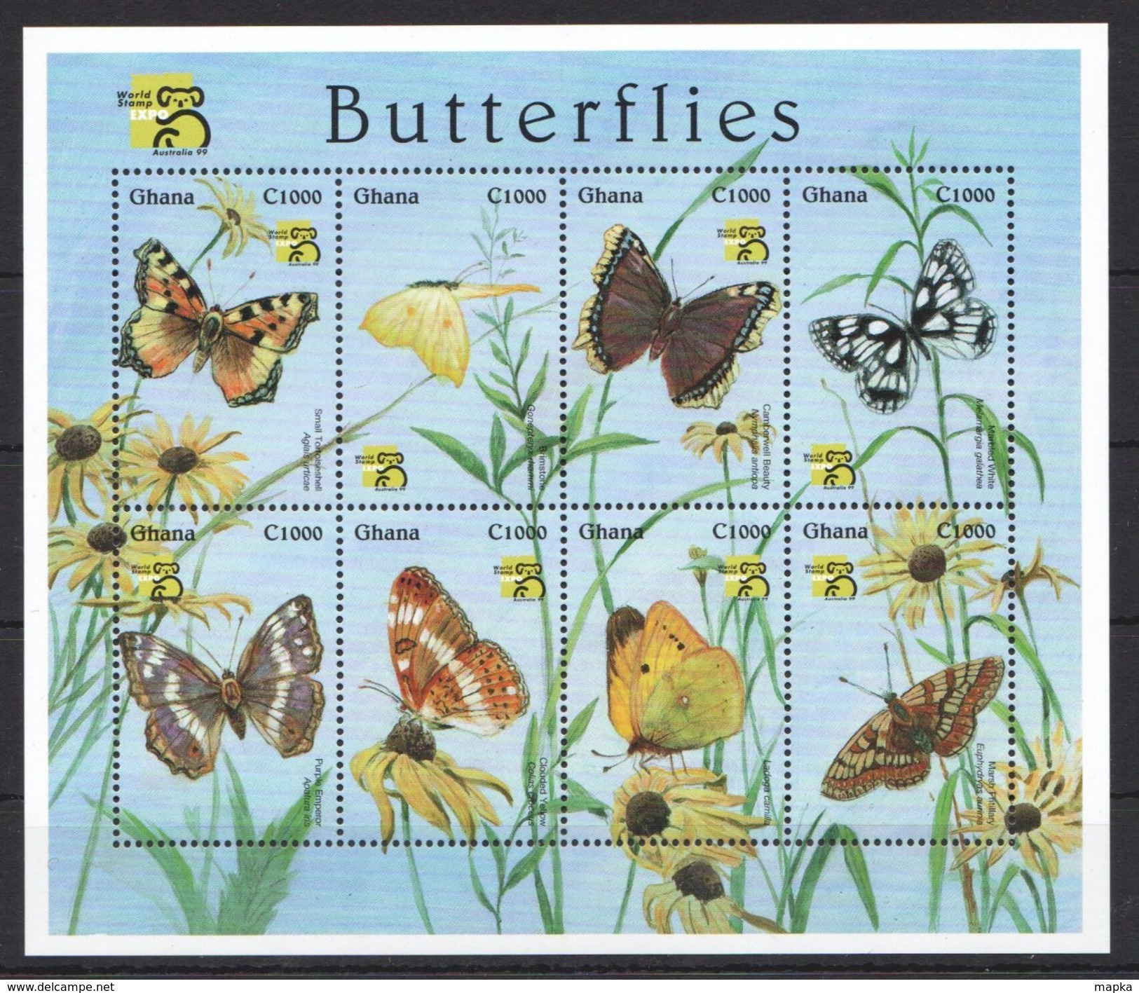N73 GHANA FAUNA INSECTS BUTTERFLIES WORLD STAMP EXPO 1999 1KB MNH - Schmetterlinge