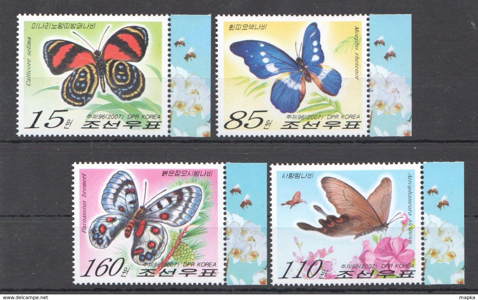 Q223 2007 KOREA FLORA & FAUNA BUTTERFLIES 1SET MNH - Schmetterlinge