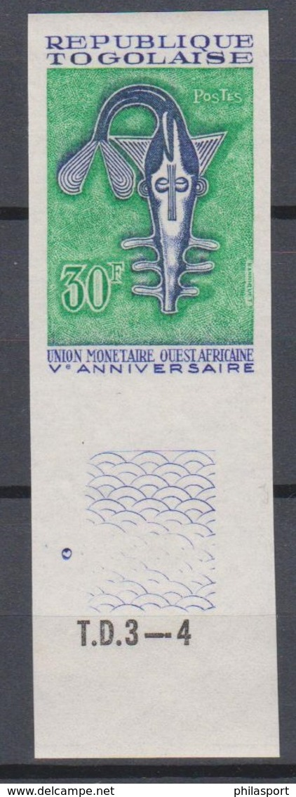 Togo 1967  N° 555  Union Monetaire Ouest Africaine  Bloc De 4 Imperf ** MNH - Togo (1960-...)