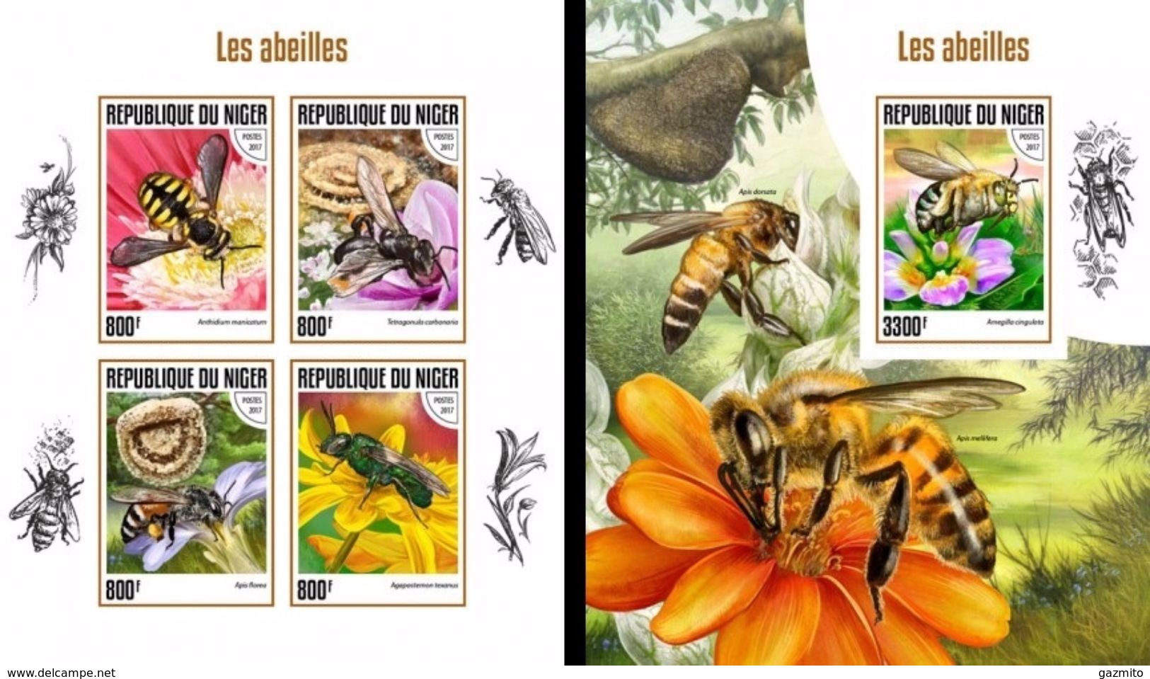 Niger 2017, Animals, Bees, 4val In BF +BF IMPERFORATED - Bienen