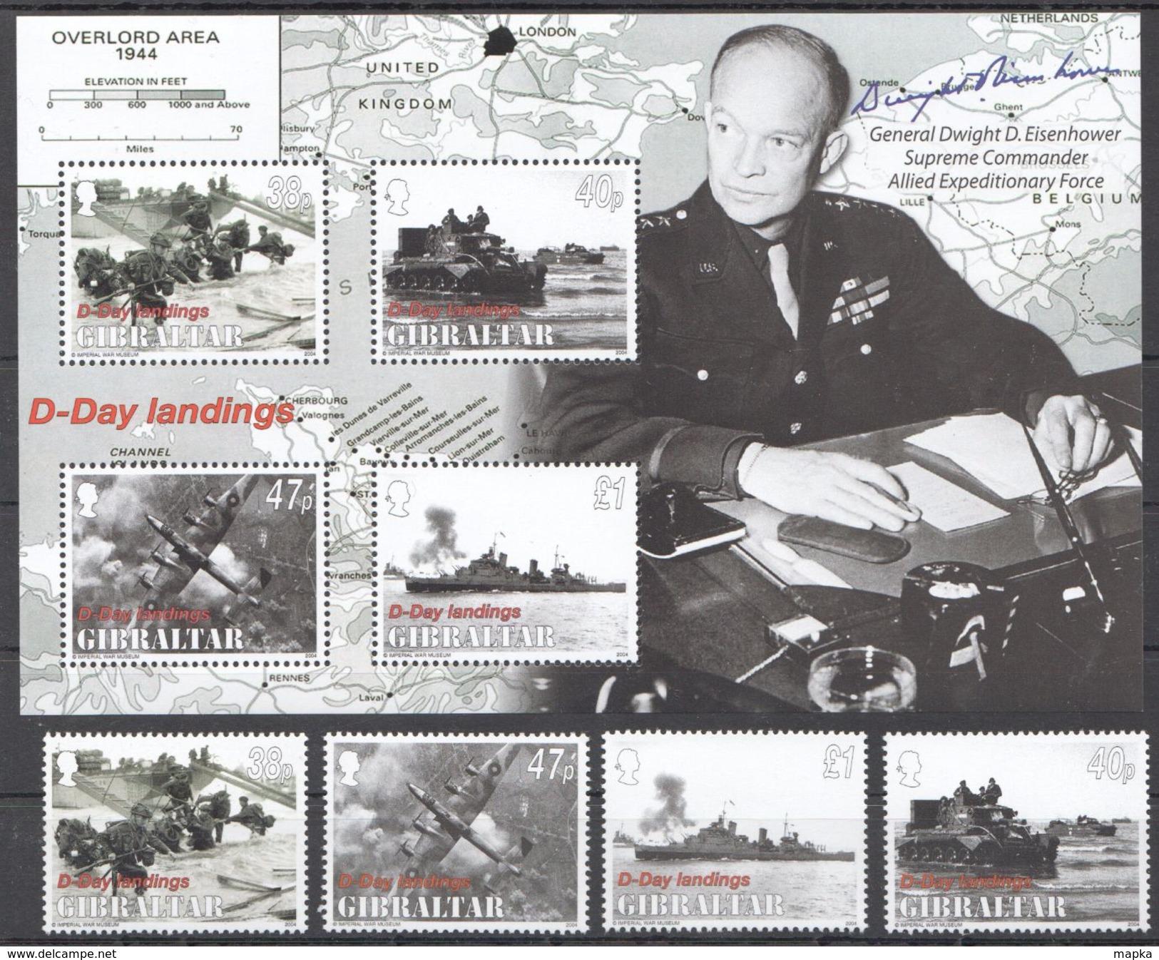 P785 2004 GIBRALTAR WAR D-DAY LANDINGS 1SET+1KB MNH - 2. Weltkrieg