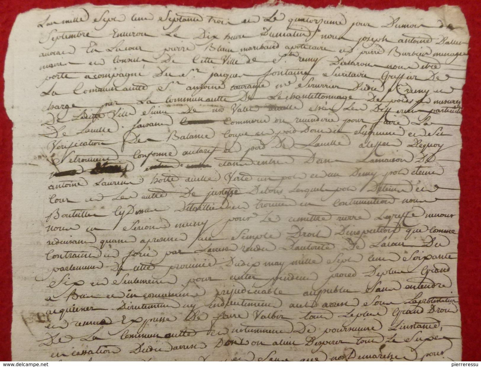 SAINT REMY MANUSCRIT VERIFICATION DE BALANCES POIDS ET MESURES 1773 A ANTOINE LAURENT - Documents Historiques