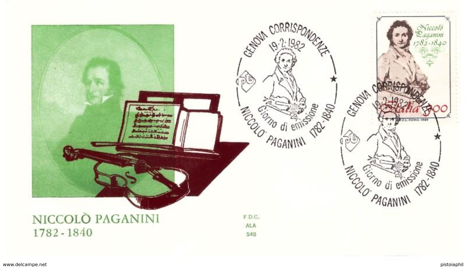 Fdc Ala: PAGANINI 1982, No Viaggiata, AS - F.D.C.