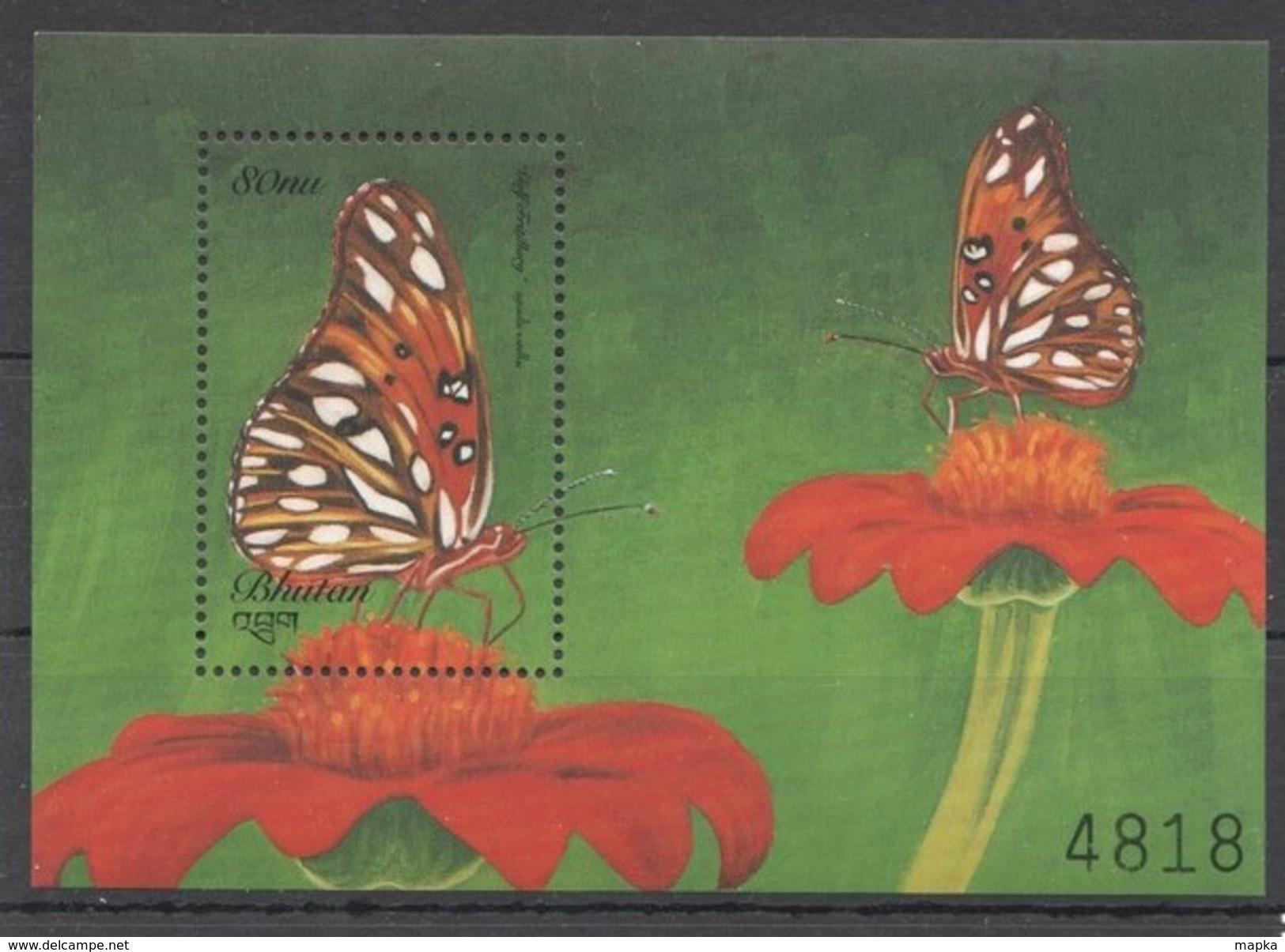U71 BHUTAN FLORA & FAUNA BUTTERFLIES BL MNH - Schmetterlinge