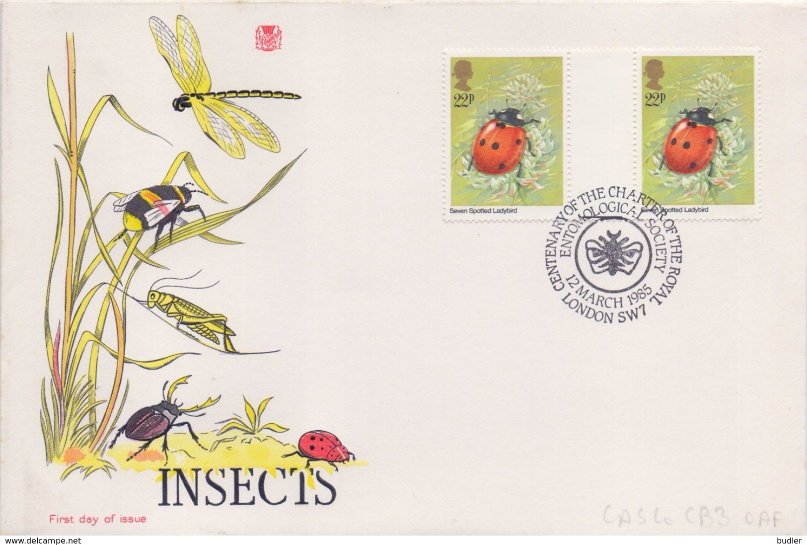 GREAT-BRITAIN :1985: Y.1174(2x) On FDC : ## Insects Of The United Kingdom ##: SEVEN SPOTTED LADYBIRD,COCCINELLE ... - Insekten