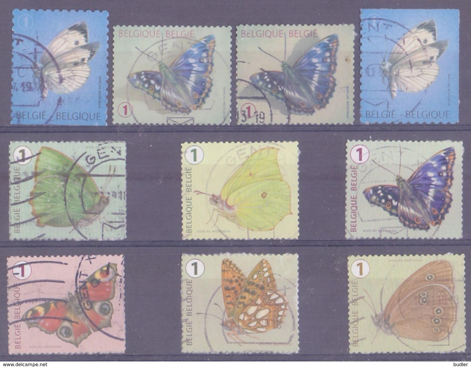 BELGIË/BELGIQUE : Gestempelde Zegels Van 9 VERSCHILLENDE VLINDERS /  Timbres Oblitérés De 9 PAPILLONS DIFFÉRENTS. - Schmetterlinge
