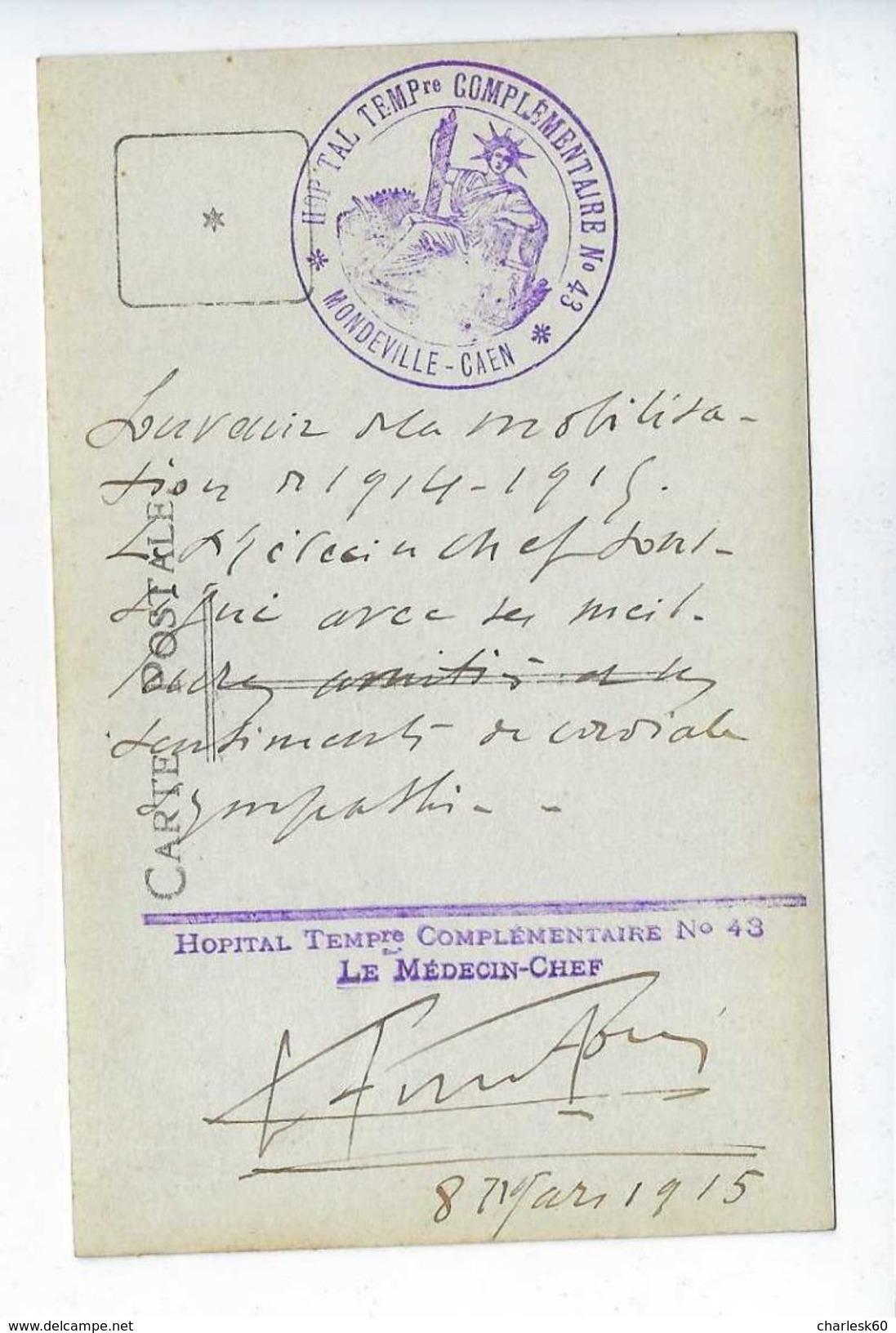 CPA Photo Hôpital Temporaire Mondeville Caen 1915 Docteur Fortin Médecin Chef - Guerre 1914-18