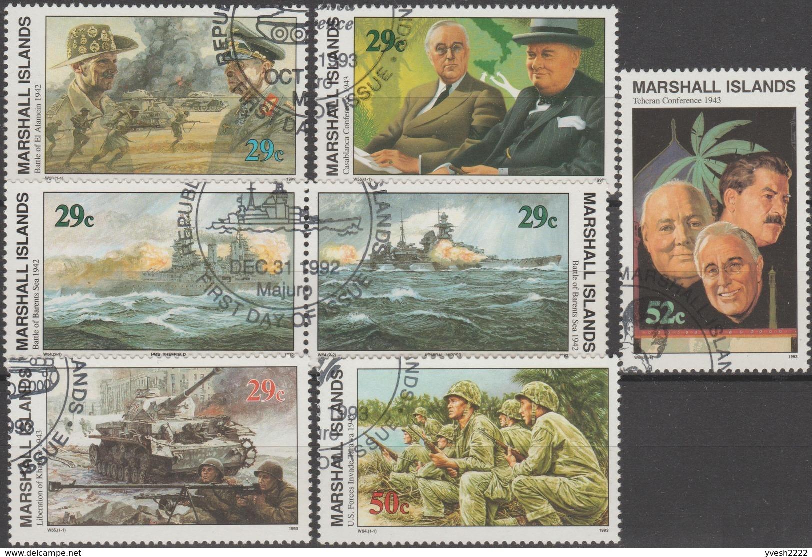 Marshall. 7 Timbres Oblitérés, Histoire De La Deuxième Guerre. Conférence De Teheran : Churchill, Staline, Roosevelt - 2. Weltkrieg