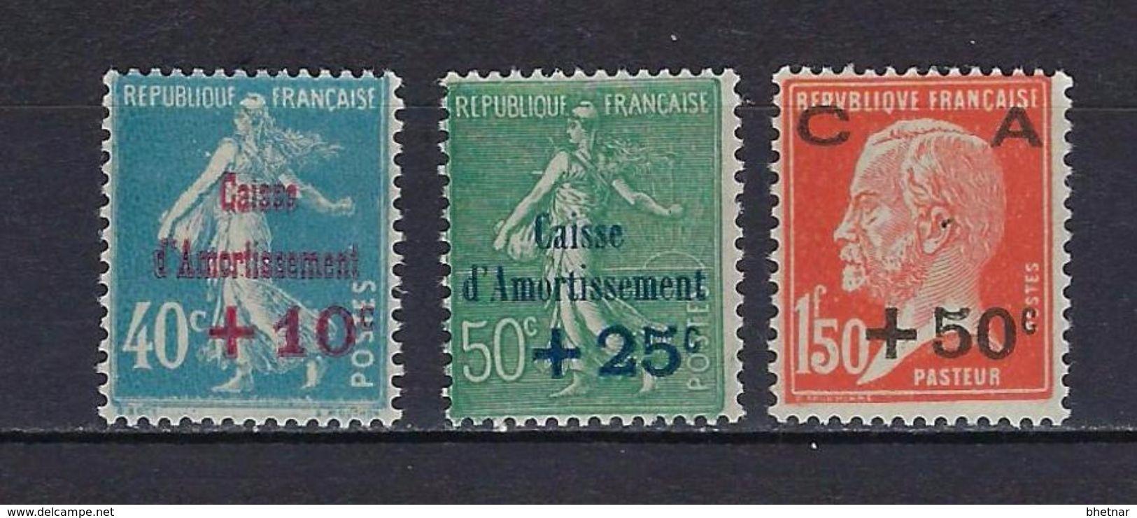 "FR YT 246 à 248 "" Série Caisse Amortissement "" 1927 Neuf** - Sinking Fund"