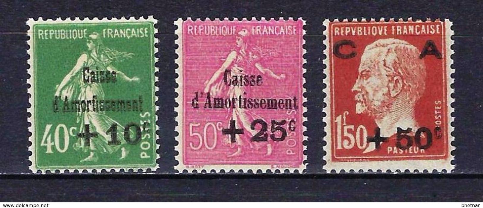 "FR YT 253 à 255 "" Caisse D'amortissement "" 1929 Neuf** - Sinking Fund"