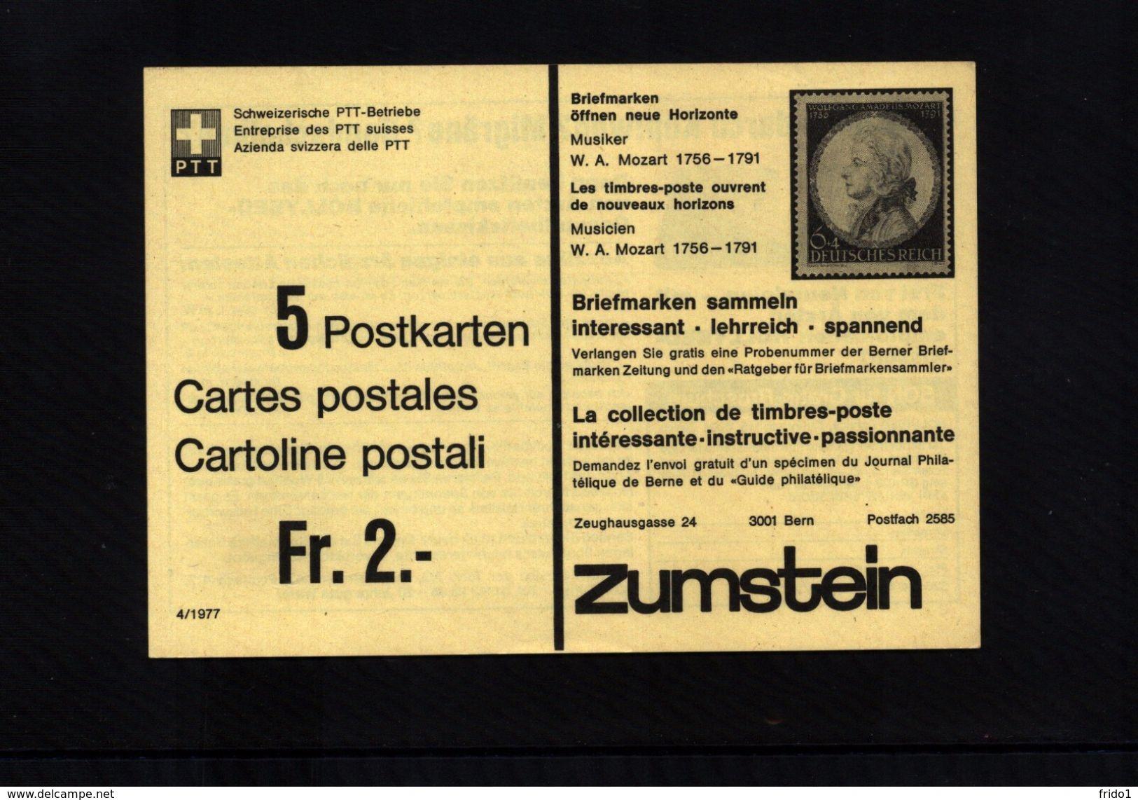 Schweiz / Switzerland Complete Pack Of 5 Postcards - Interi Postali