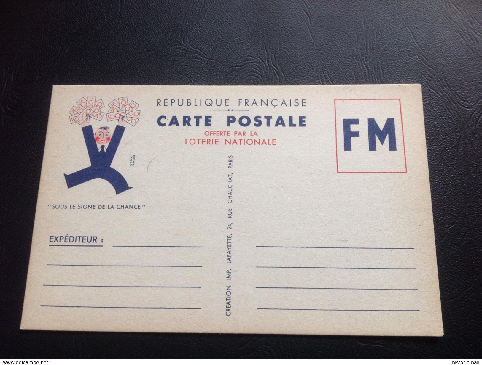 Carte Postale Offerte Par LA LOTERIE NATIONALE - Franchise Militaire - 1939-1945 - Marcophilie (Lettres)