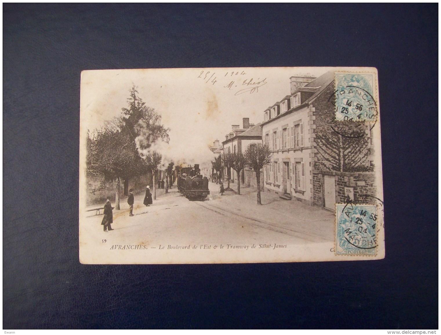 Carte Postale Ancienne D'Avranches: Le Boulevard De L'Est Et Le Tramway De Saint-James - Avranches