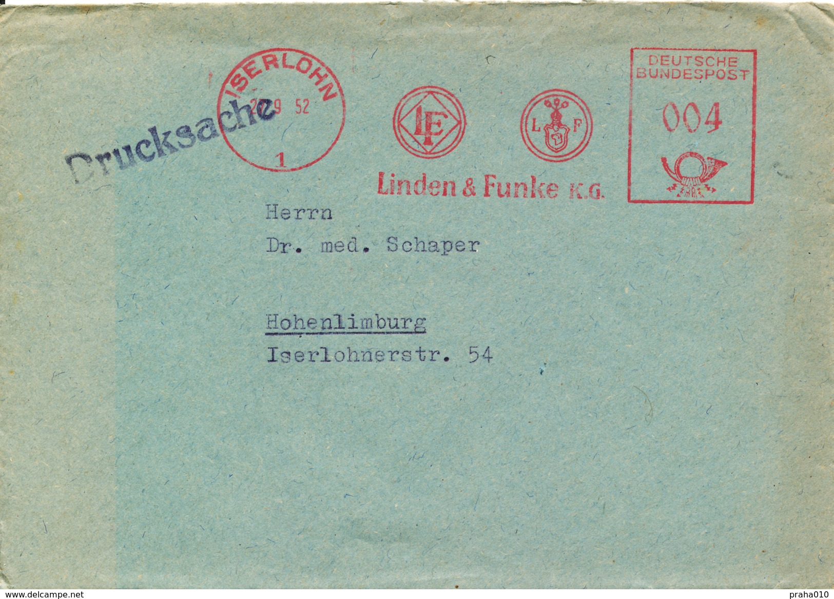 L4376 - BRD (1952) Iserlohn: Linden & Funke K.G. (logo; Metal Goods Factory - Production Of Military Buckles!!!) - 2. Weltkrieg