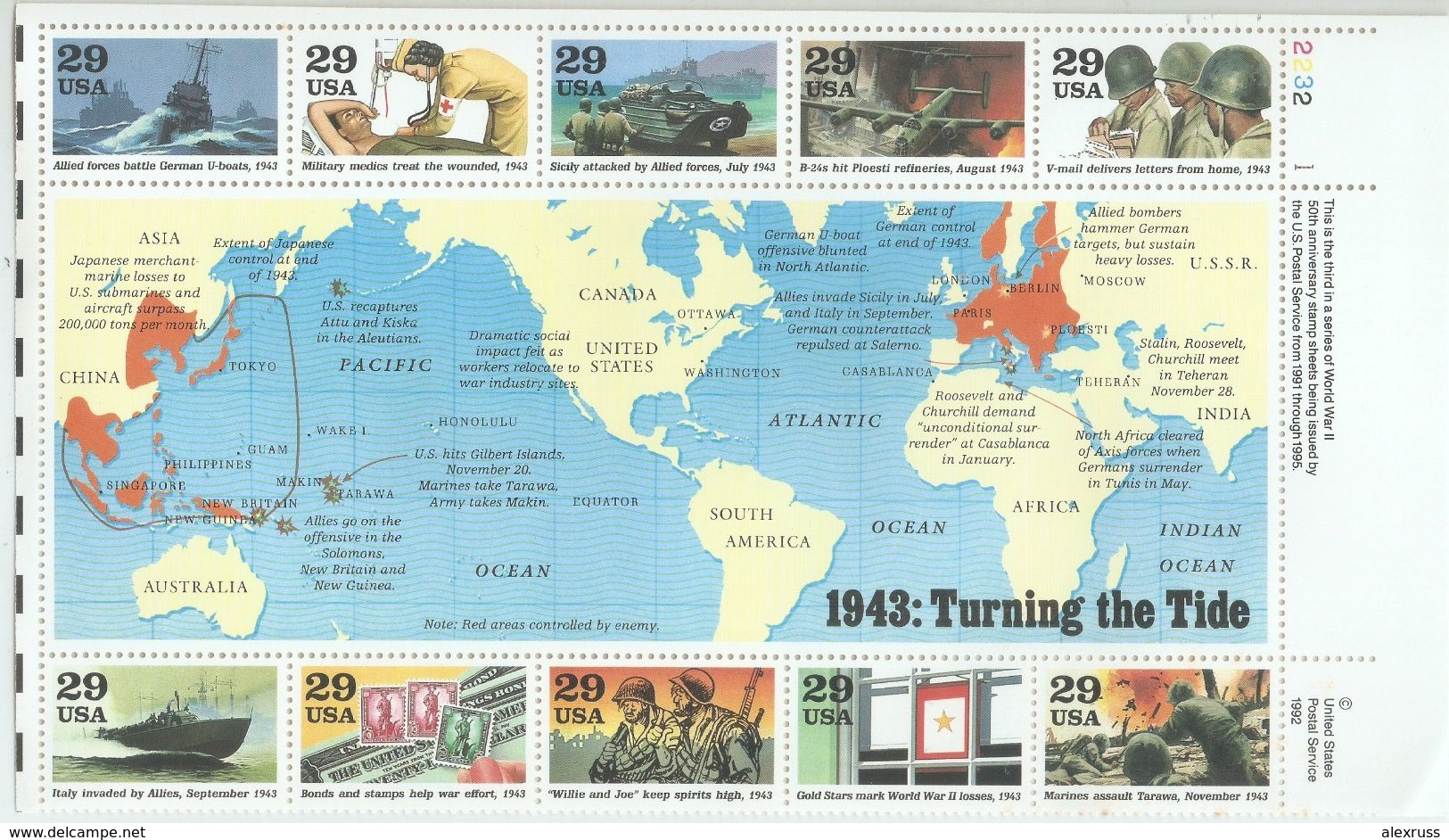 "USA 1993,WW-2 Maps ""Turning The Tide"",Sc 2765,MNH** - 2. Weltkrieg"