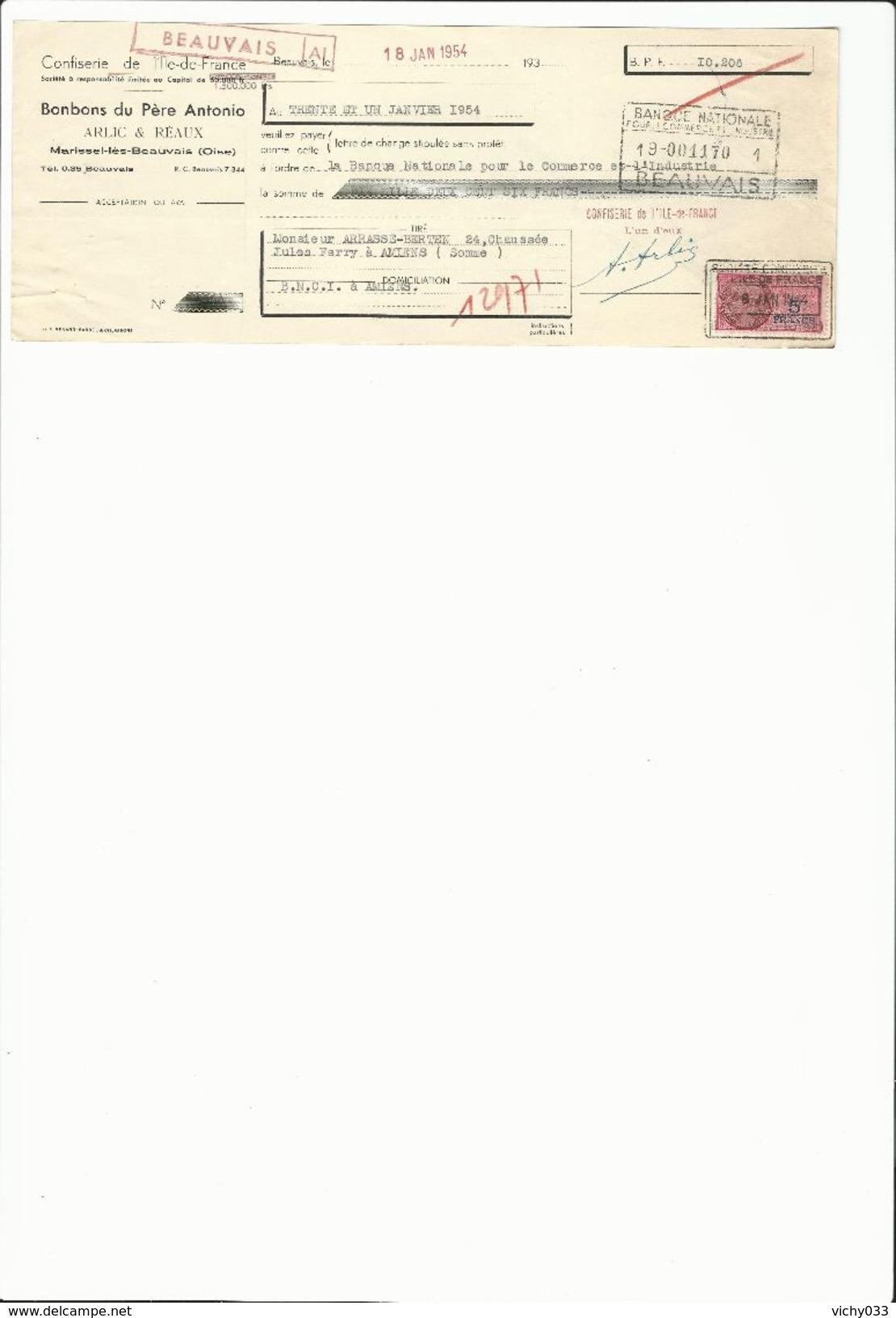 Ref 56/ 60, Beauvais, Marissel Les Beauvais, Alric Et Réaux, Bonbons Du Père Antonio, 1954 - Banque & Assurance