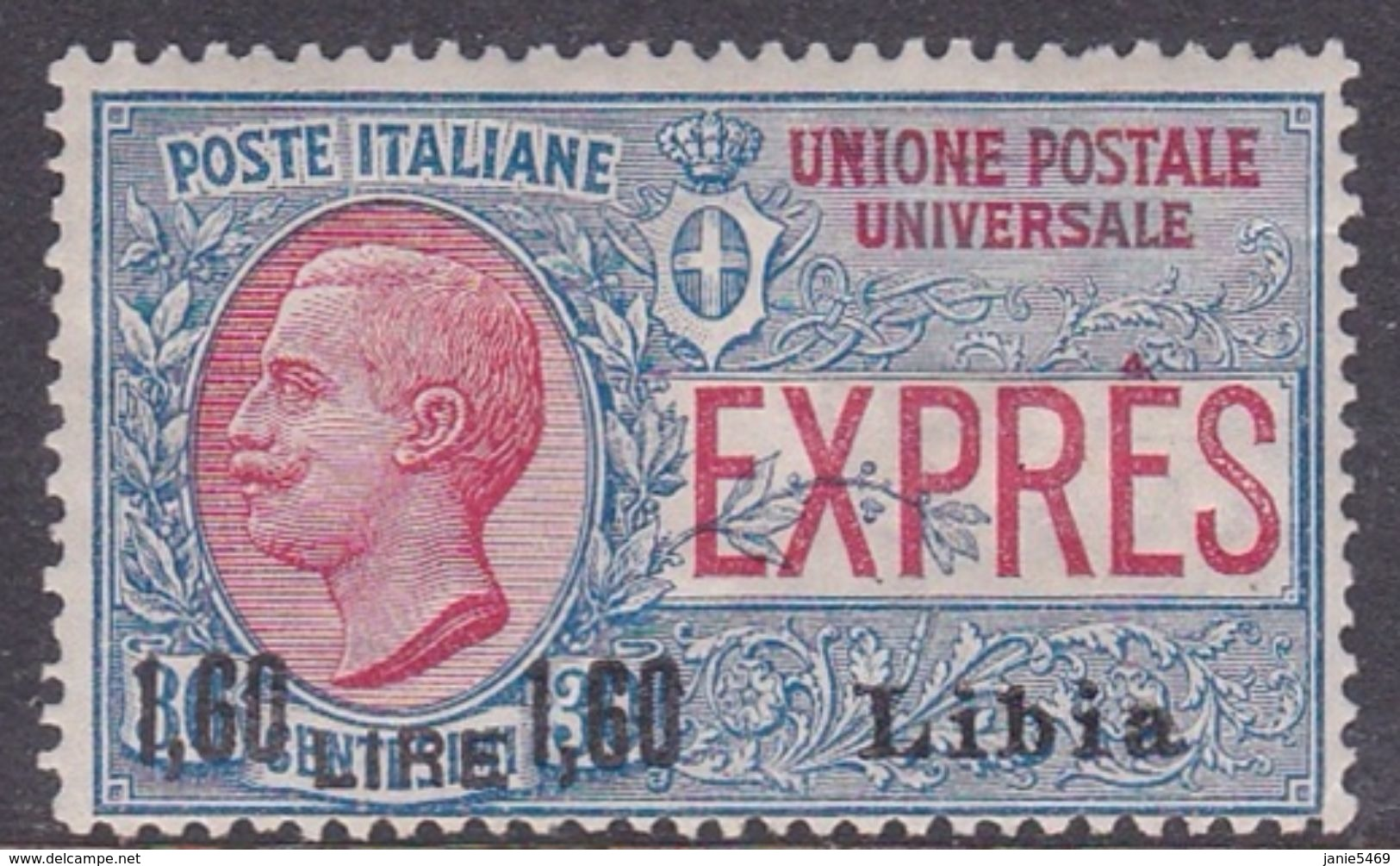 Italy-Colonies And Territories-Libya E 6 1922 Special Delivery Stamp, Lira 1.60 On 30c  Blue And Rose, Mint Hinged - Libya