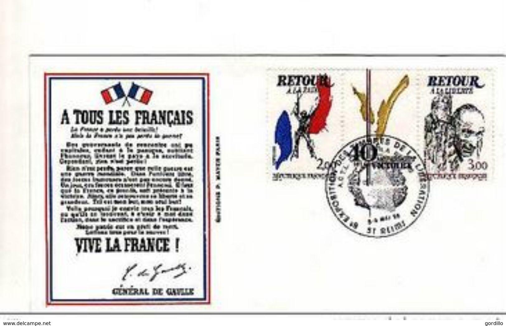 Sur Enveloppe 18 Juin Expo Timbres Libération Reims 1985. - 2. Weltkrieg