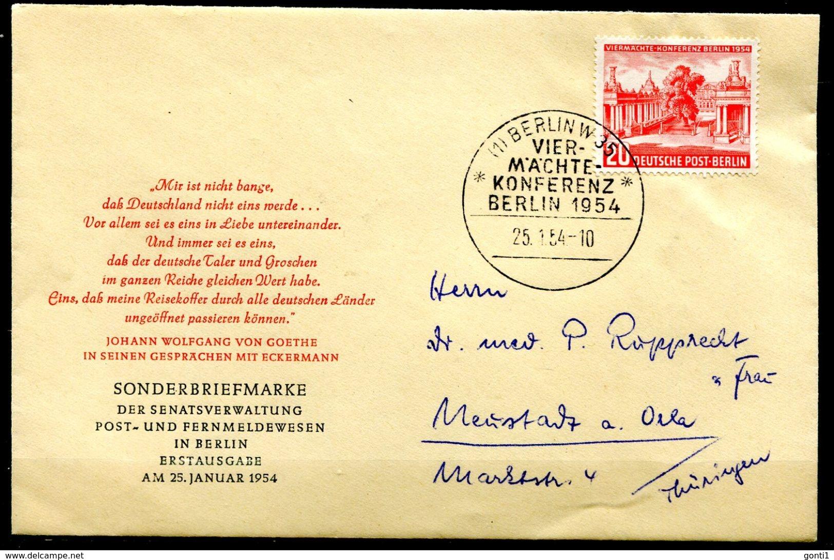 """Germany Westberlin 1954 First Day Beleg Mi.Nr.116 Viemächte Konferenz Mit ESST""""Berlin 35-Vier Mächte Konferenz""""1 Beleg - 2. Weltkrieg"""
