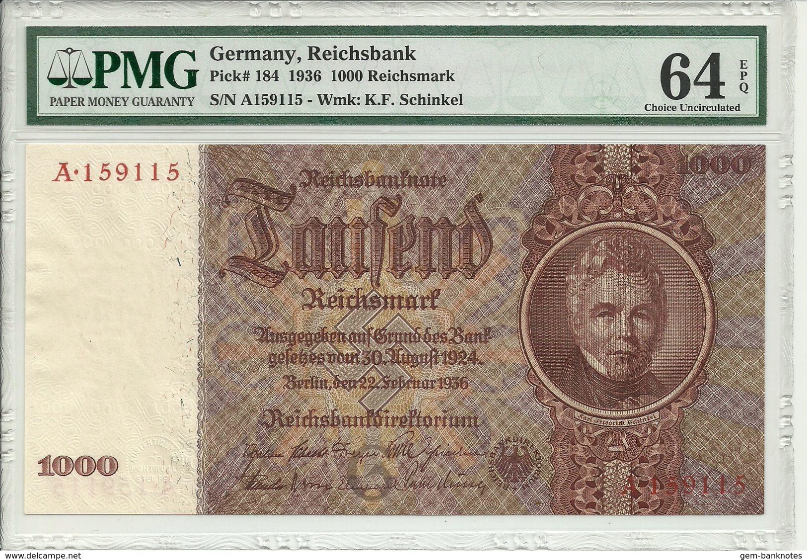 Germany, Reichsbank, 1000 Reichsmark 1936 P184 Graded 64 EPQ By PMG (Choice Uncirculated) - 1000 Reichsmark