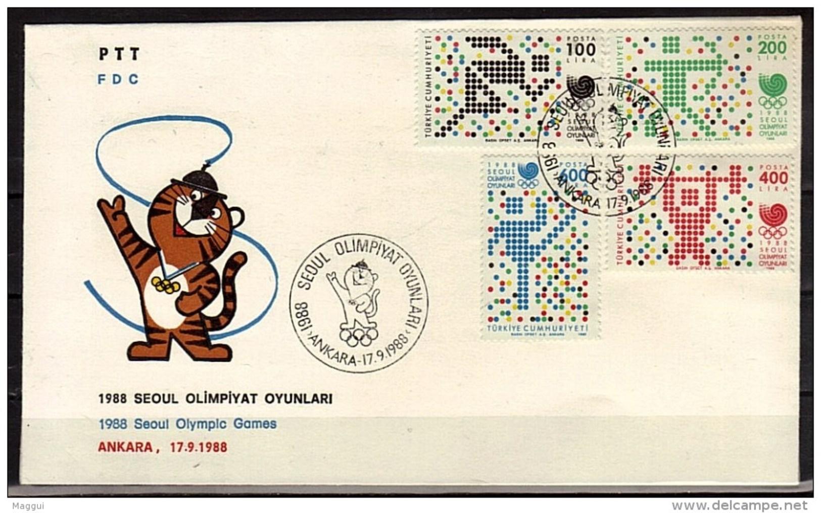 TURQUIE   FDC JO 1988   Halterophilie  Course  Gymnastique Tir A L Arc - Archery
