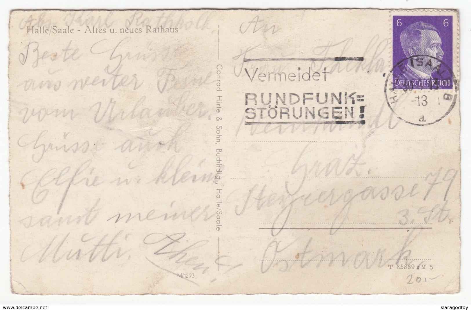 Halle (Saale), Old Town Hall Old Postcard Travelled 1943 B170915 - Halle (Saale)