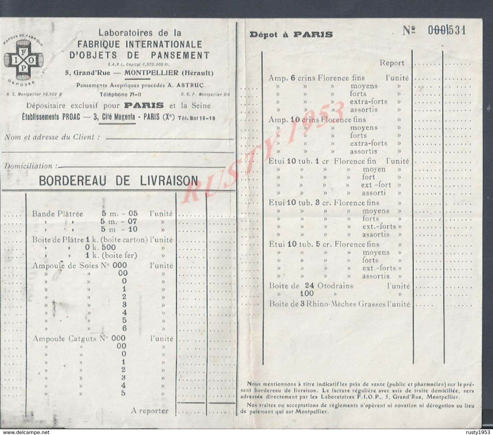 LABORATOIRES DE LA FABRIQUE OBJETS DE PANSEMENT À MOTPELLIER DEPOT À PARIS CITÉ MAGENTA BOULEVARD BOURDON : - Non Classés