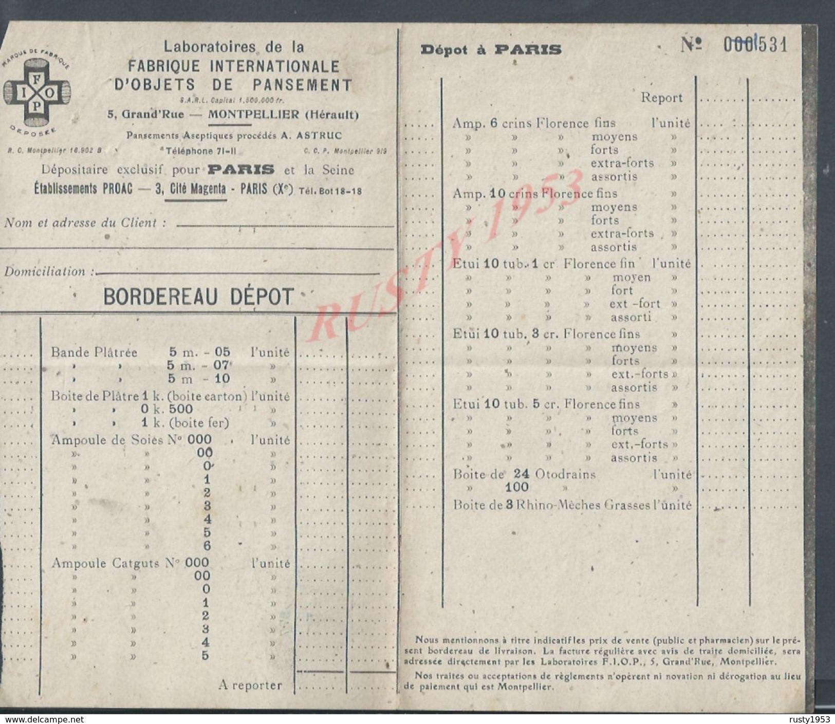 LABORATOIRES DE LA FABRIQUE OBJETS DE PANSEMENT À MOTPELLIER DEPOT À PARIS CITÉ MAGENTA BOULEVARD BOURDON : - Sciences & Technique