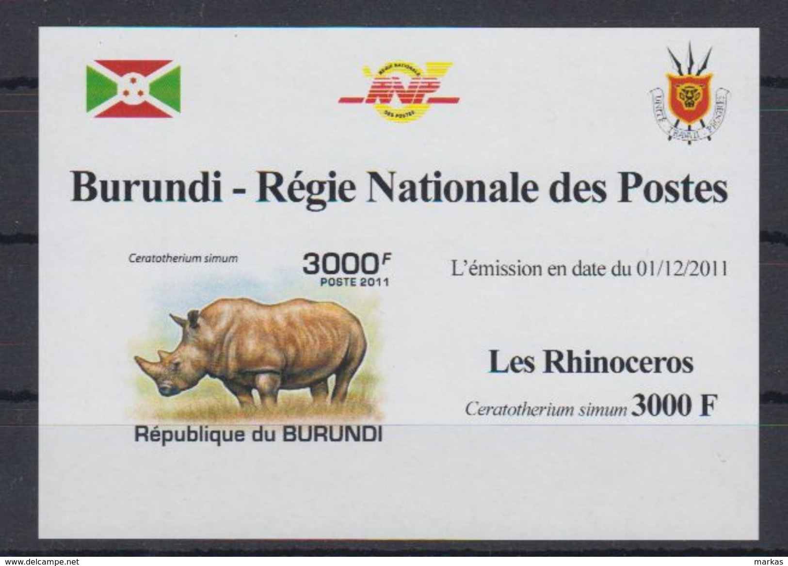 F53. Burundi - MNH - Animals - Rhinoceros - 2011 - Deluxe - Imperf - Rhinozerosse