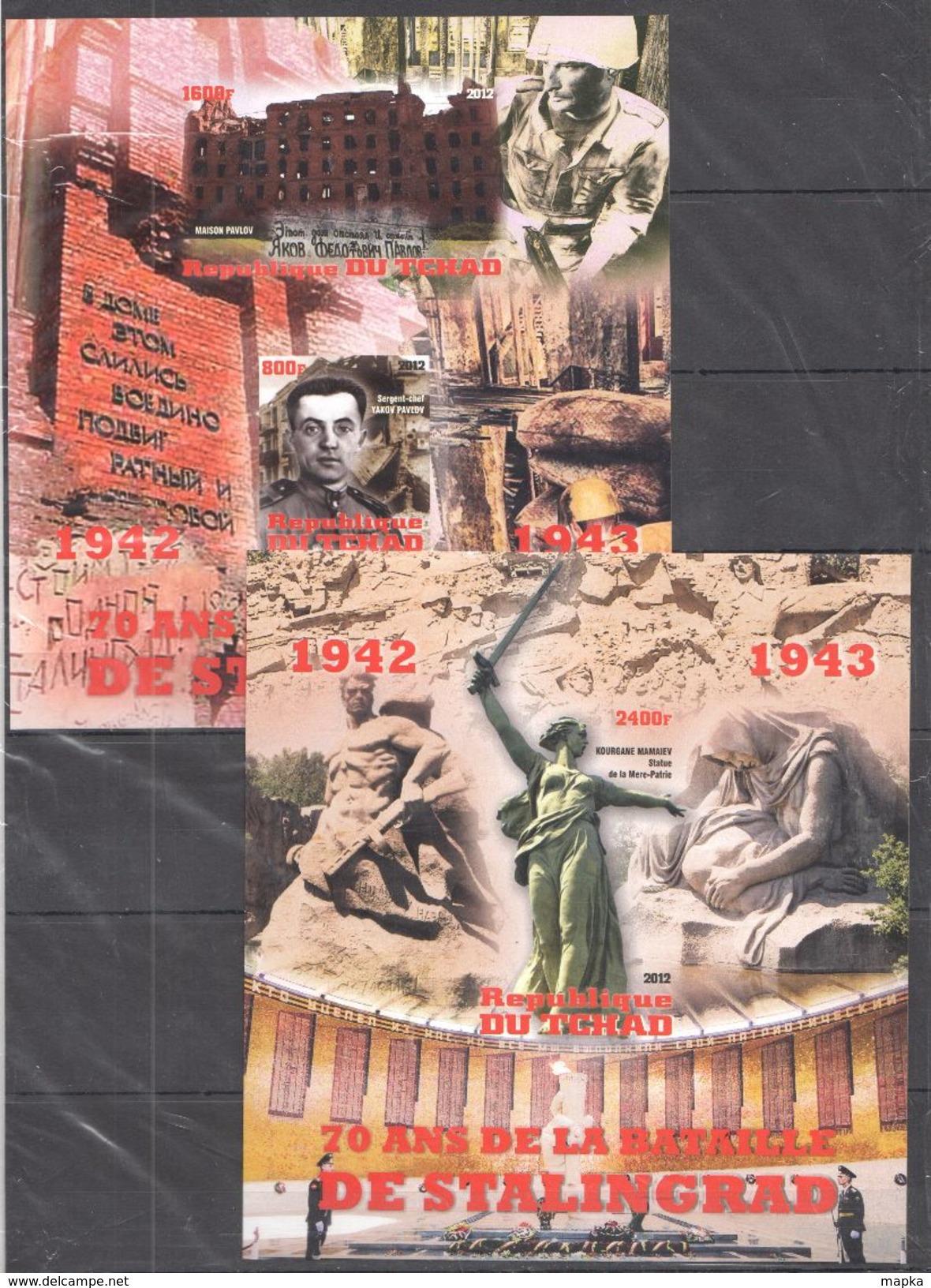 U261 2012 !!! IMPERFORATE REPOBLIQUE DU CHAD MILITIARY HISTORY WW2 ANNIVESAIRE DE LA BATAILLE DE STALINGRAD 2BL MNH - 2. Weltkrieg