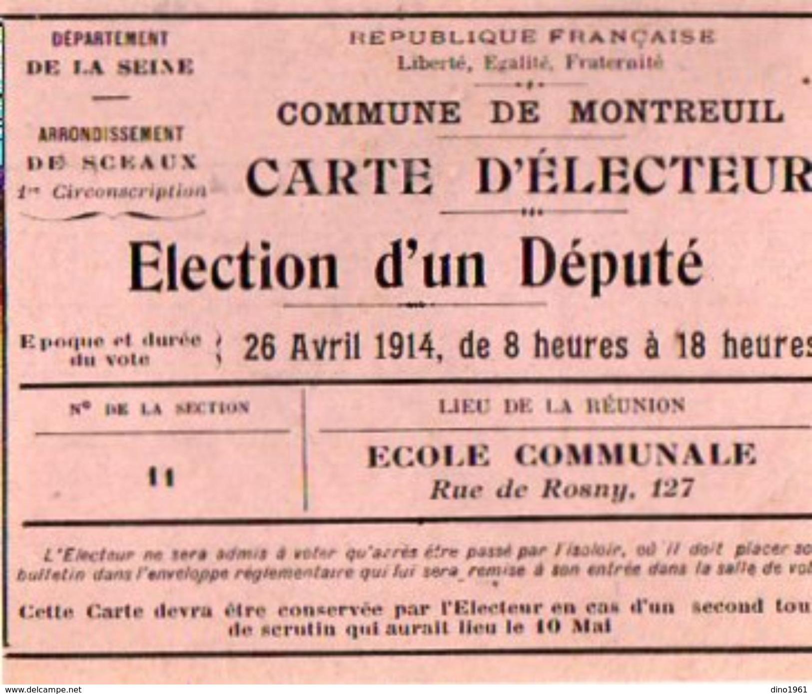 VP10.862 - Commune De MONTREUIL -  Carte D'Electeur - Mr G. BOUDACHIER - Sin Clasificación