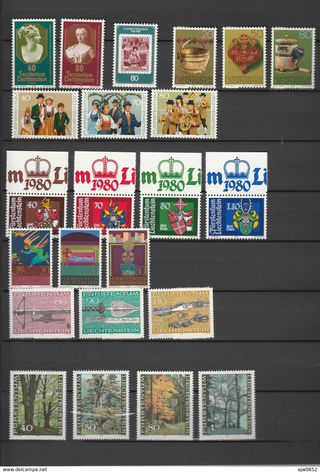 1980 COMPLETE MNH** - Liechtenstein