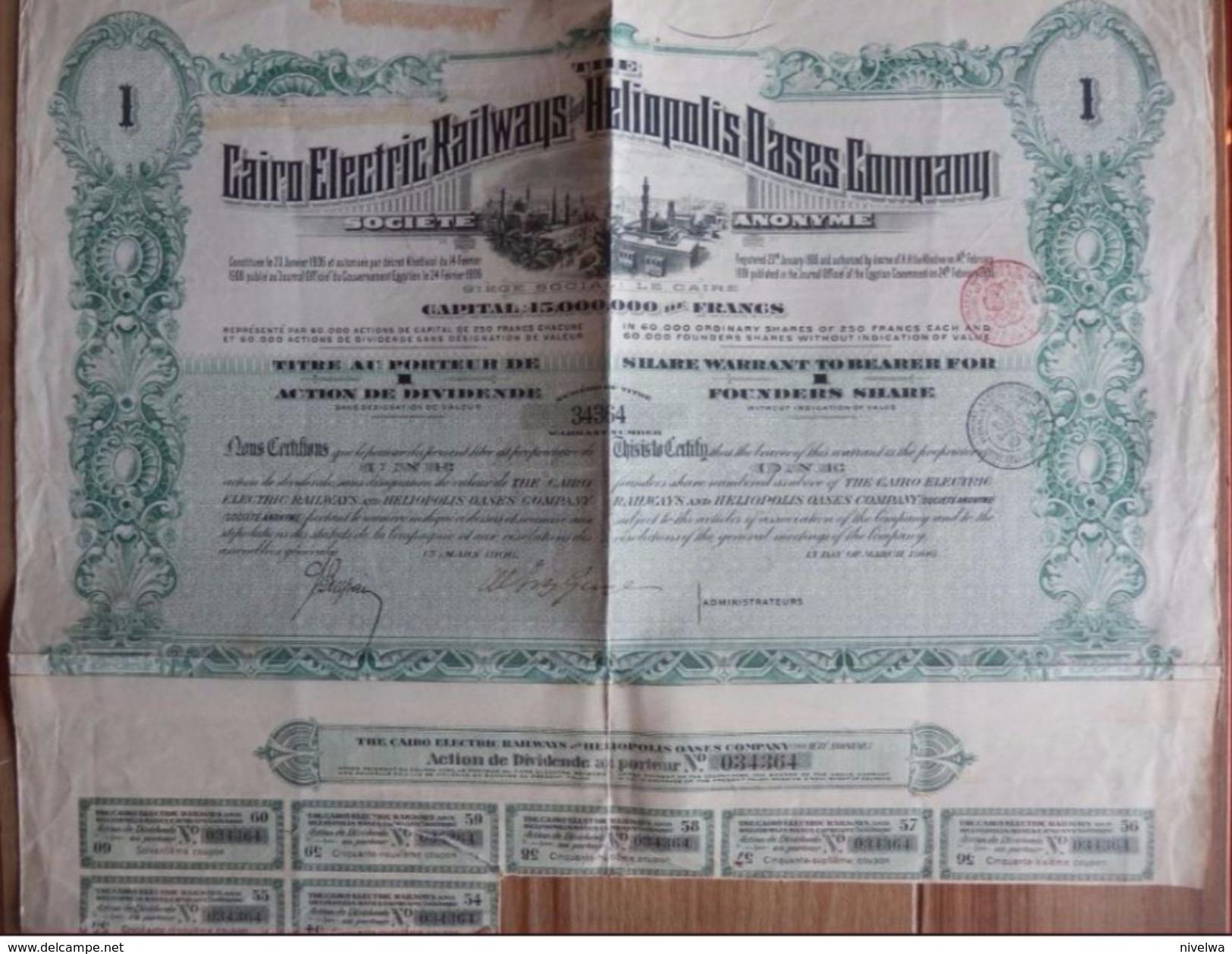 ACTION CAIRO ELECTRIC RAILWAYS 1906 + Papier Kredietbank Kortrijk (2 Scans) - 113 - Chemin De Fer & Tramway