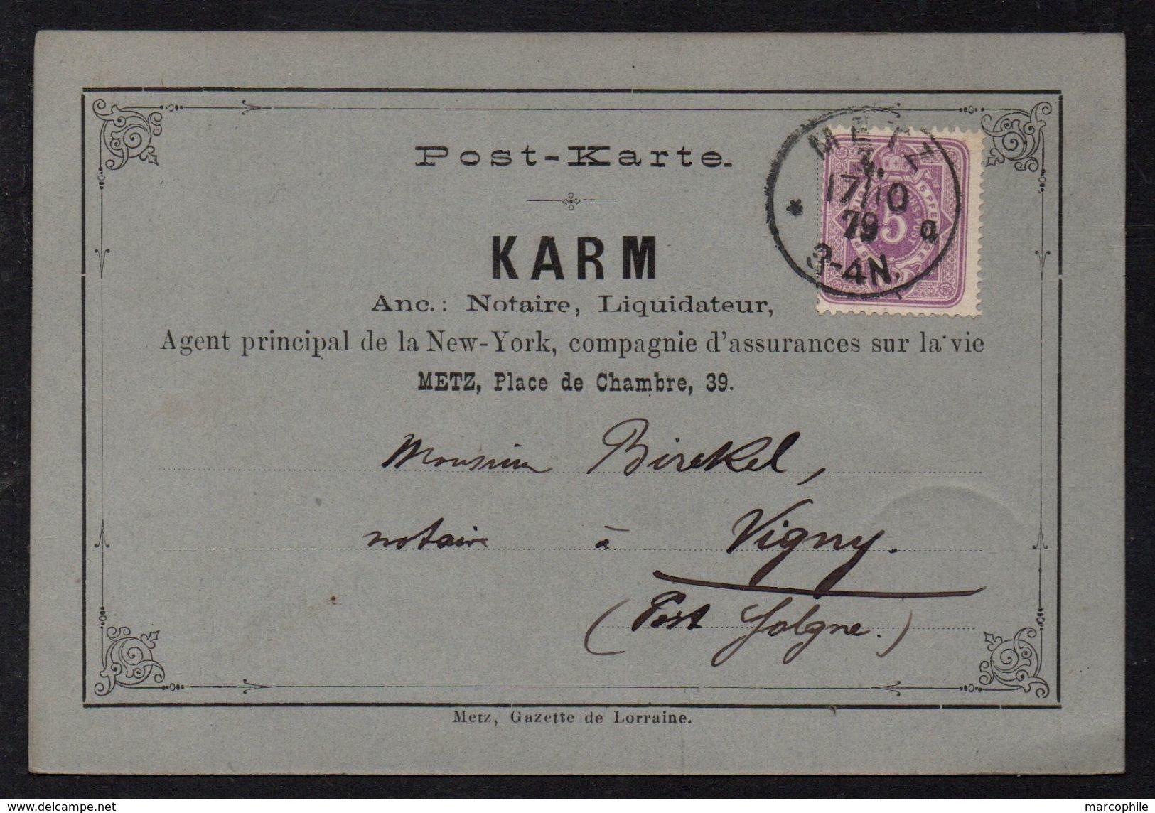 METZ - MOSELLE  / 1879 CARTE COMMERCIALE ILLUSTREE POUR VIGNY PAR SOLGNE  (ref 7537a) - Alsace-Lorraine