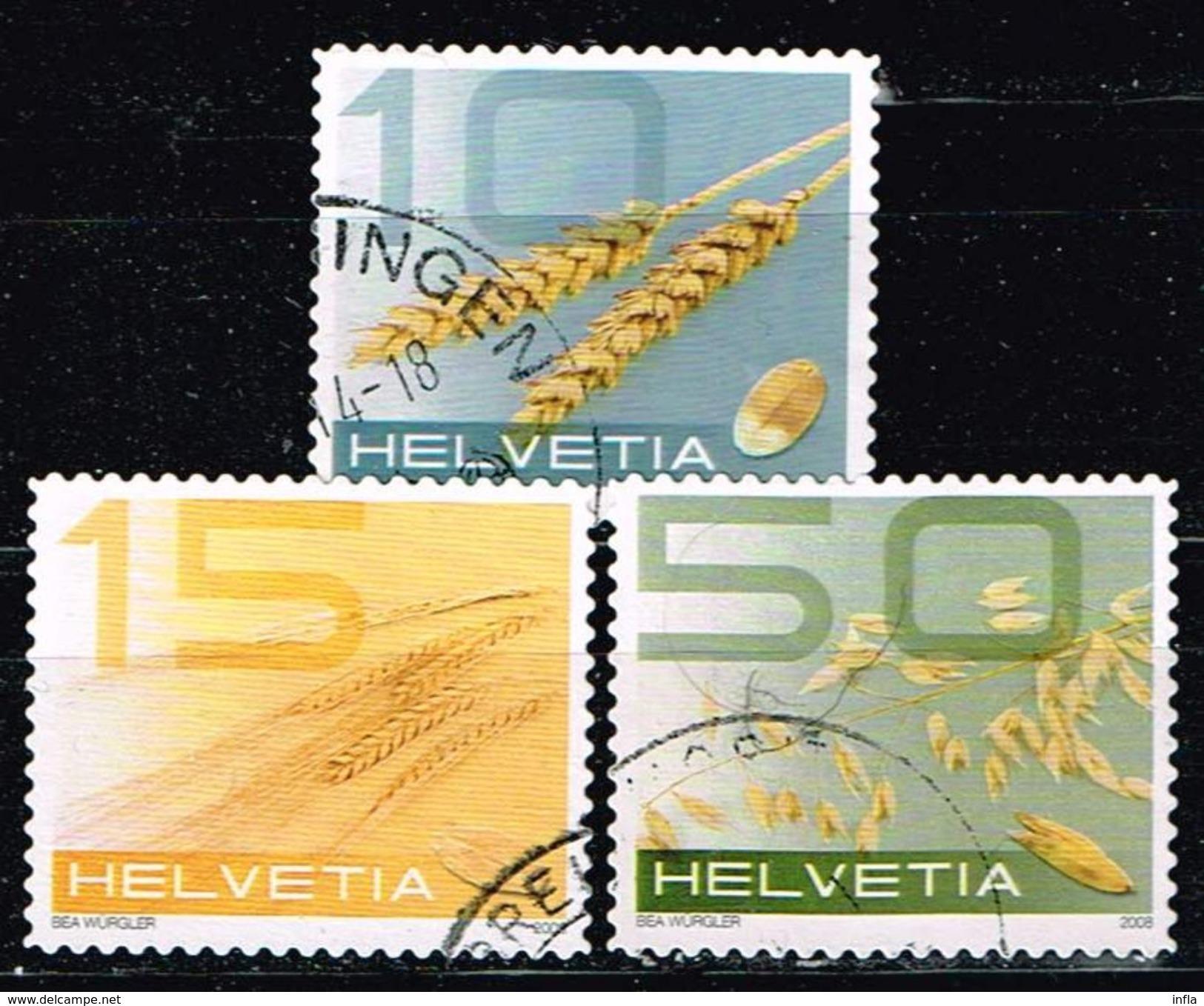 Schweiz 2008, Michel# 2069, 2070 + 2072 O  Getreide - Switzerland