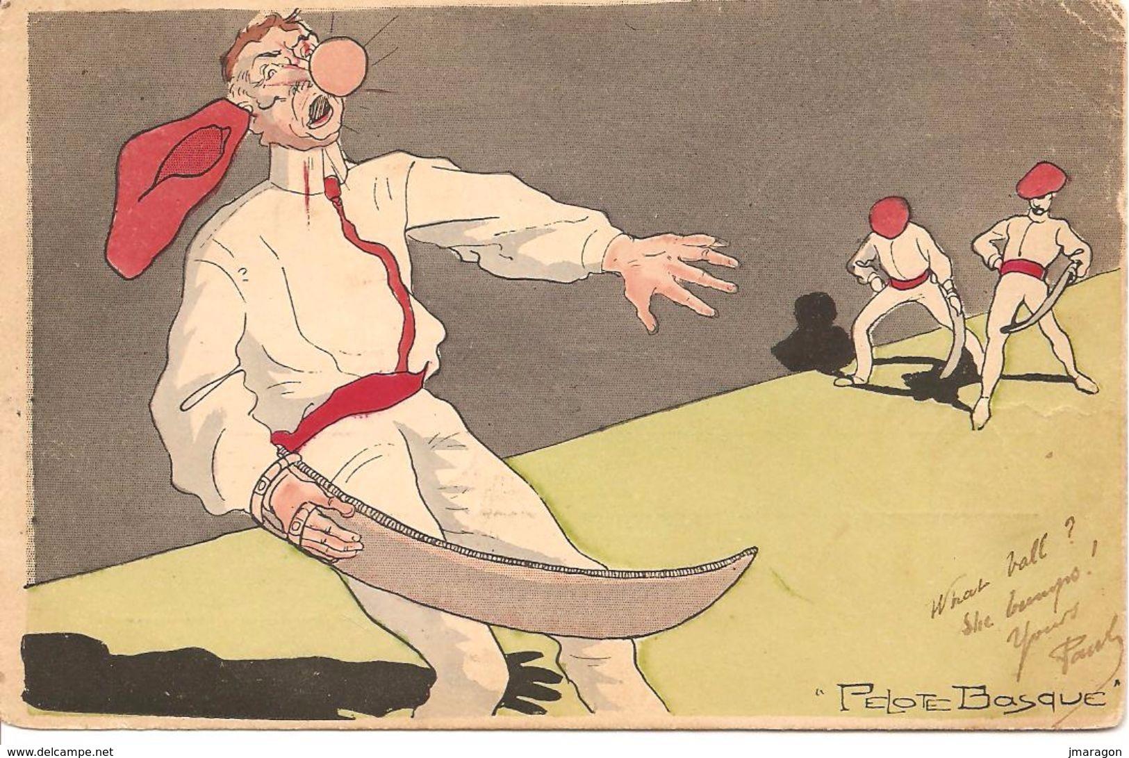 PAYS BASQUE - Pelote Basque - Précursseur, écrite Et Voyagée 1904 - Illustration Originale - Be - Non Classés